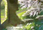 absurdres arch brick_wall cherry_blossoms commentary_request day grass highres moss no_humans original outdoors overgrown rock ruins scenery sunlight tree turquoise_iro window
