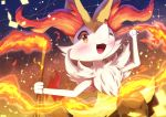 1girl :3 abili absurdres animal_ear_fluff animal_ears arm_up artist_name blush braixen commentary confetti fire fox_ears fox_tail furry gen_6_pokemon gradient gradient_background hand_up happy heart heart_in_eye highres holding jpeg_artifacts leg_up looking_at_viewer one_eye_closed open_mouth orange_eyes pokemon pokemon_(creature) signature smile solo sparkle stick symbol_in_eye tail twitter_username watermark