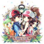 2girls 3boys baseball_cap bel_(pokemon) black_hair blonde_hair blush brown_eyes brown_hair cheren_(pokemon) closed_mouth commentary_request confetti copyright_name glasses green_eyes green_hair hand_on_headwear hat high_ponytail kokoroko leaf long_hair lowres multiple_boys multiple_girls n_(pokemon) poke_ball_print pokemon pokemon_(game) pokemon_bw semi-rimless_eyewear sidelocks smile touko_(pokemon) touya_(pokemon) violet_eyes watermark