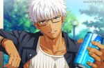 1boy akujiki59 alternate_costume alternate_hairstyle archer brown_eyes can chest close-up dark_skin dark_skinned_male fate/grand_order fate/stay_night fate_(series) glasses male_focus pectorals smile solo tank_top white_hair