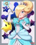 1girl absurdres alternate_hairstyle beehive_hairdo blonde_hair breasts crown dress earrings hair_over_one_eye highres jewelry large_breasts lips luma_(mario) mario_(series) princess_dress rosalina sarukaiwolf short_hair smile solo star_(symbol) star_earrings wand