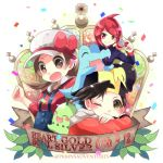 1girl 2boys baseball_cap blush brown_hair chikorita closed_mouth commentary_request copyright_name cyndaquil gen_2_pokemon gold_(pokemon) hat hat_ribbon holding holding_poke_ball kokoroko kotone_(pokemon) leaf looking_down lowres multiple_boys on_head overalls poke_ball poke_ball_(basic) pokemon pokemon_(creature) pokemon_(game) pokemon_hgss pokemon_on_head redhead ribbon silver_(pokemon) smile starter_pokemon starter_pokemon_trio totodile watermark white_headwear