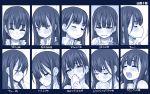 1girl blush boku_no_kokoro_no_yabai_yatsu chart closed_eyes closed_mouth covering_mouth crying crying_with_eyes_open expression_chart expressions hagiya_masakage monochrome open_mouth saliva saliva_trail smile sweat sweatdrop tears trembling yamada_anna
