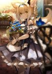 1girl animal_ears arknights blue_flower blurry blurry_foreground braid depth_of_field dress flower flower_pot fox_ears fox_girl fox_tail frilled_dress frills hair_rings hairband highres holding konome_noi long_hair looking_at_viewer multiple_tails ore_lesion_(arknights) plant potted_plant shoulder_cutout solo standing suzuran_(arknights) tail wrist_cuffs