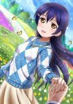1girl bangs birthday blue_hair blush bug butterfly character_name dated hair_between_eyes hair_ornament happy_birthday highres insect jewelry lens_flare long_hair looking_at_viewer love_live! love_live!_school_idol_festival love_live!_school_idol_project necklace open_mouth outdoors pov pov_hands smile solo_focus sonoda_umi xiaoxin041590 yellow_eyes