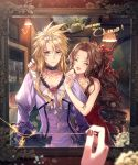 1boy 1girl aerith_gainsborough bare_shoulders black_bow blonde_hair blue_eyes blush bow brown_hair character_name choker closed_eyes cloud_strife crossdressing dress english_text eyebrows_visible_through_hair fang final_fantasy final_fantasy_vii final_fantasy_vii_remake flower hair_flower hair_ornament hair_ribbon happy_birthday jewelry kieta lips long_hair mirror nail_polish necklace open_mouth purple_dress putting_on_jewelry red_dress reflection ribbon ring rose sidelocks tiara upper_body
