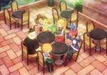 2girls 3boys :d arms_up black_hair black_pants blonde_hair blue_jacket boots brown_footwear brown_hair calme_(pokemon) chair chespin commentary_request day fennekin froakie gen_6_pokemon holding holding_pokemon jacket kokoroko multiple_boys multiple_girls on_head open_mouth orange_hair outdoors pants pokedex pokemon pokemon_(creature) pokemon_(game) pokemon_on_head pokemon_xy red_headwear sana_(pokemon) serena_(pokemon) sitting smile starter_pokemon starter_pokemon_trio sunglasses table tierno_(pokemon) toroba_(pokemon)