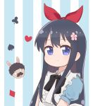 1girl alice_(wonderland) alice_(wonderland)_(cosplay) alice_in_wonderland animal_ears apron black_bow black_hair blue_background blue_dress blue_eyes blush bow child closed_mouth club_(shape) commentary cosplay diamond_(shape) dress eyebrows_visible_through_hair flower frilled_apron frills hair_bow hair_flower hair_ornament heart higero_(wataten) highres ixia_(ixia424) long_hair looking_at_viewer rabbit_ears red_bow shirosaki_hana smile spade_(shape) striped striped_background two-tone_background upper_body vertical_stripes watashi_ni_tenshi_ga_maiorita! white_apron white_background