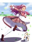 1girl :d absurdres alternate_costume apron back_bow bow brown_eyes brown_skirt cat earrings enmaided facial_mark fire_emblem fire_emblem:_three_houses floating_hair full_body highres jewelry leg_up loafers long_hair long_sleeves looking_at_viewer maid open_mouth outstretched_arm pantyhose petra_macneary pink_hair pink_shirt pleated_skirt running shiny shiny_hair shirt shoes short_over_long_sleeves short_sleeves skirt smile solo sukkirito_(rangusan) very_long_hair white_apron white_bow white_legwear