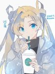 1girl black_sweater blonde_hair blue_eyes blush character_request closed_mouth double_bun drinking_straw grey_jacket hands_up holding hood hooded_jacket jacket kantai_collection kasumi_(skchkko) long_hair long_sleeves looking_at_viewer sipping solo starbucks sweater twintails