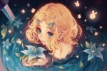 1girl aqua_eyes bangs bare_shoulders bathing blue_flower braid closed_mouth crown_braid flower from_above glowing hair_ornament hairclip highres holding holding_flower kamochiru looking_at_viewer looking_up parted_bangs partially_submerged pointy_ears princess_zelda short_hair smile solo sword the_legend_of_zelda the_legend_of_zelda:_breath_of_the_wild the_legend_of_zelda:_breath_of_the_wild_2 water weapon
