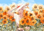 1boy alternate_costume armor bangs blue_eyes clouds cloudy_sky fate/apocrypha fate/grand_order fate_(series) floral_background flower hair_between_eyes hat highres jewelry karna_(fate) looking_at_viewer male_focus pale_skin sakuramochi1003 shirt sky smile solo sunflower white_hair