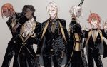 5boys ahoge alternate_costume alternate_hairstyle arjuna_(fate/grand_order) arjuna_alter arm_on_shoulder ashwatthama_(fate/grand_order) black_hair coat coat_on_shoulders dark_skin dark_skinned_male fate/grand_order fate_(series) formal gloves horns jewelry karna_(fate) multiple_boys necktie one_eye_closed orange_hair rama_(fate/grand_order) sakuramochi1003 simple_background single_earring upper_body waving white_hair