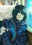 1girl bangs blue_jacket commentary_request day glowing green_eyes highres jacket long_sleeves looking_outside on_chair original partially_unzipped short_hair sitting solo sunlight train_interior turquoise_iro window