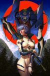 1girl arm_across_waist ayanami_rei blue_hair blue_sky dave_rapoza eva_00 gun highres looking_to_the_side looking_up mecha mountain neon_genesis_evangelion pilot_suit plugsuit red_eyes rifle short_hair sky solo tree weapon