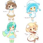 4girls :d aikei_ake bangs bare_arms bare_shoulders blonde_hair blue_hair blue_sailor_collar blush boots brown_eyes brown_footwear brown_hair chibi closed_mouth collared_dress commentary_request cup dress eyebrows_visible_through_hair green_footwear green_hair hair_between_eyes hair_ornament hand_up hat head_tilt highres holding holding_cup instrument long_hair looking_at_viewer multicolored multicolored_clothes multicolored_dress multiple_girls one_side_up open_mouth original personification puffy_short_sleeves puffy_sleeves puzzle_piece sailor_collar sailor_dress saucer shoe_soles shoes short_sleeves simple_background sitting sleeveless sleeveless_dress smile sparkle standing standing_on_one_leg tambourine teacup translation_request water white_background white_dress white_footwear white_headwear yellow_eyes