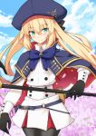 1girl artoria_pendragon_(all) artoria_pendragon_(caster) bangs belt black_gloves black_legwear black_ribbon blonde_hair blue_belt blue_bow blue_capelet blue_headwear blue_sky blush board_game bow breasts capelet closed_mouth clouds cloudy_sky commentary_request cowboy_shot day double-breasted eyebrows_visible_through_hair fate/grand_order fate_(series) gloves go green_eyes hair_ribbon hat holding long_hair long_sleeves looking_at_viewer nahu o-ring_belt outdoors pantyhose ribbon skirt sky smile solo staff striped_belt twintails