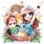 1girl 2boys arm_up blue_(pokemon) blue_eyes blush brown_eyes brown_hair bulbasaur charmander closed_eyes commentary_request confetti copyright_name fang gen_1_pokemon holding holding_pokemon kokoroko leaf lowres multiple_boys ookido_green open_mouth pokemon pokemon_(creature) pokemon_(game) pokemon_frlg red_(pokemon) squirtle starter_pokemon starter_pokemon_trio teeth tongue upper_teeth w wristband