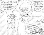 1boy bald bb_(baalbuddy) highres open_mouth original screaming skeleton skull solo_focus speech_bubble sweat sweatdrop