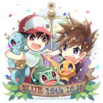 2boys bangs baseball_cap brown_hair bulbasaur charmander commentary_request confetti copyright_name eye_contact fighting fire gen_1_pokemon hat holding holding_pokemon kokoroko leaf looking_at_another lowres multiple_boys ookido_green open_mouth pokemon pokemon_(creature) pokemon_(game) pokemon_rgby purple_shirt red_(pokemon) red_eyes shirt spiky_hair squirtle teeth tongue violet_eyes watermark