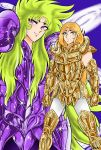2boys aries_mu aries_shion golden_armor long_hair male purple_armor saint_seiya sera_(artist) shining_armor smile