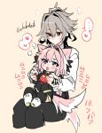 ... 2boys animal_ears artist_name astolfo_(fate) blush command_spell commentary_request dog_boy dog_ears dog_tail eyebrows_visible_through_hair eyes_visible_through_hair fate/apocrypha fate_(series) grey_hair hair_between_eyes hand_tattoo haoro heart highlights multicolored_hair multiple_boys pink_background pink_hair red_eyes sieg_(fate/apocrypha) simple_background sitting sitting_on_lap sitting_on_person speech_bubble spoken_heart tail tail_wagging tongue tongue_out twitter_username two-tone_hair violet_eyes watermark white_hair
