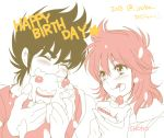 1boy 1girl 2015 blush brown_hair cake eating equuleus_shoko female jobo_(isi88) male pegasus_seiya red_hair saint_seiya saint_seiya_saintia_sho simple_background