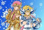 2boys aquarius_camus armor cygnus_hyoga fighting_stance long_hair male posing saint_seiya sera_(artist) shining_armor smile snowflakes