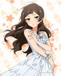 1girl blush bow brown_eyes brown_hair dress hand_on_own_arm idolmaster idolmaster_million_live! idolmaster_million_live!_theater_days jewelry kitazawa_shiho long_hair looking_at_viewer necklace official_art ribbon-trimmed_dress simple_background sleeveless sleeveless_dress solo standing white_bow white_dress wristband