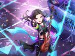 bang_dream! black_hair blush dress guitar layer_(bang_dream!) short_hair violet_eyes