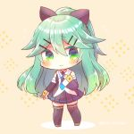 1girl bangs bare_shoulders black_legwear black_ribbon black_shirt black_skirt black_sleeves blush brown_background brown_footwear chibi closed_mouth commentary_request detached_sleeves eyebrows_visible_through_hair full_body green_eyes green_hair hair_between_eyes hair_ornament hair_ribbon hairclip kantai_collection kouu_hiyoyo long_hair long_sleeves looking_at_viewer pleated_skirt ponytail ribbon shirt shoes skirt sleeveless sleeveless_shirt sleeves_past_wrists smile solo standing thigh-highs twitter_username very_long_hair yamakaze_(kantai_collection)