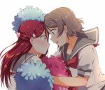2girls :d absurdres blue_eyes brown_eyes collarbone collared_shirt couple eye_contact floating_hair grey_hair grey_sailor_collar highres long_hair looking_at_another love_live! love_live!_sunshine!! multiple_girls neckerchief open_mouth pom_poms profile red_neckwear redhead sailor_collar sailor_collar_lift sailor_shirt sakurauchi_riko school_uniform serafuku shiny shiny_hair shirt short_hair short_sleeves simple_background smile upper_body uranohoshi_school_uniform watanabe_you white_background white_shirt yuchi_(salmon-1000) yuri