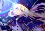 1girl artoria_pendragon_(all) artoria_pendragon_(caster) bangs beret black_gloves blonde_hair blue_bow blue_cape blue_eyes blue_headwear bow brooch cape closed_mouth commentary_request eyebrows_visible_through_hair fate/grand_order fate_(series) floating_hair gloves hair_between_eyes hat holding holding_staff ittokyu jewelry long_hair long_sleeves looking_at_viewer multicolored multicolored_cape multicolored_clothes puffy_long_sleeves puffy_sleeves red_cape shirt signature smile solo staff upper_body white_shirt