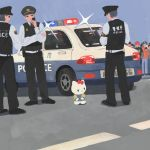 1girl 3boys arrest black_eyes bow car cat cuffs ground_vehicle handcuffs hello_kitty hello_kitty_(character) highres looking_to_the_side motor_vehicle multiple_boys police police_car red_bow woshihuyi