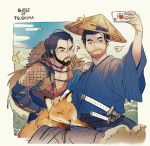 2boys ? animal arm_up armor beard black_eyes black_hair blue_hakama capelet cellphone closed_mouth collarbone copyright_name day facial_hair falling_leaves fox ghost_of_tsushima hair_between_eyes hair_bun hakama hand_on_hip hand_on_shoulder hat highres holding holding_phone japanese_armor japanese_clothes jin_(ghost_of_tsushima) kanataria katana kote leaf male_focus multiple_boys mustache ninjatou open_clothes orange_hakama outdoors petting phone pinstripe_pattern ryuzo_(ghost_of_tsushima) sash self_shot sheath sheathed short_hair short_sword shoulder_armor sky straw_hat striped stubble sweat sword taking_picture upper_body weapon white_background