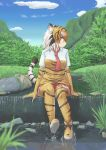 1girl :3 animal_ear_fluff animal_ears animal_print black_hair blue_sky boots clouds commentary day elbow_gloves full_body gloves grass hane_(kirschbaum) highres kemono_friends looking_to_the_side multicolored_hair nature necktie orange_hair outdoors print_gloves print_legwear red_neckwear river rock short_sleeves sky solo sumatran_tiger_(kemono_friends) tail thigh-highs tiger_ears tiger_girl tiger_print tiger_tail water waterfall white_hair yellow_eyes