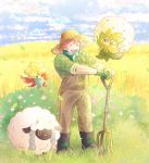 1boy alternate_costume black_footwear blue_sky boots brown_overalls closed_eyes clouds cloudy_sky commentary_request creature day eldegoss field floating flower freckles full_body gen_8_pokemon gloves gossifleur grass green_gloves green_scarf green_shirt gym_leader happy hat leaf leaves_in_wind male_focus open_mouth outdoors overalls plaid plaid_shirt pokemon pokemon_(creature) pokemon_(game) pokemon_swsh rake sakota_(sakota_6box) scarf sheep shirt sky sleeves_rolled_up smile standing straw_hat upper_teeth wheat wheat_field wind wooloo yarrow_(pokemon) |d