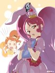 2girls animal_ears brown_hair cure_custard cure_whip dark_persona dress earrings error food_themed_hair_ornament hair_ornament holding humagear_headphones jewelry kamen_rider kamen_rider_01_(series) kirakira_precure_a_la_mode large_twintail magical_girl miayama_karen multiple_girls pink_hair precure rabbit_ears seiyuu_connection strawberry_hair_ornament twintails yuuzii