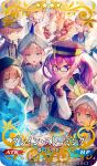 1girl 6+others androgynous baguette bangs black_headwear black_jacket blonde_hair blue_eyes blue_hair blush bread brown_hair captain_nemo_(fate/grand_order) closed_eyes closed_mouth cup fate/grand_order fate_(series) food glasses gradient_hair grey_eyes hair_between_eyes head_rest jacket long_hair long_sleeves map mebaru mole mole_under_mouth multicolored_hair multiple_others official_art open_mouth purple_hair sion_eltnam_sokaris sleeves_past_fingers sleeves_past_wrists smile table teacup teapot turban twintails upper_body violet_eyes white_headwear white_jacket