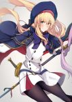 1girl absurdres artoria_pendragon_(all) artoria_pendragon_(caster) bangs belt blonde_hair blue_belt blue_capelet blue_headwear blush breasts cape capelet fate/grand_order fate_(series) gloves green_eyes highres holding holding_staff long_hair long_sleeves looking_at_viewer multicolored multicolored_cape multicolored_capelet multicolored_clothes nanakaku smile staff sword weapon