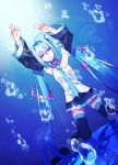 1girl absurdres black_skirt blue_eyes blue_hair boots cowlick detached_sleeves hair_between_eyes hands_up hatsune_miku highres kneeling long_hair runa-star25angel616 skirt solo thigh-highs thigh_boots twintails underwater very_long_hair vocaloid