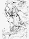 1boy article_s close-up face floating_hair helmet leo_aiolia male monochrome portrait saint_seiya serious sketch solo