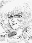 1boy article_s close-up face floating_hair libra_dohko long_hair male monochrome portrait saint_seiya serious sketch solo