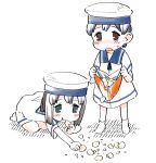 :t bag black_hair blue_eyes blush brown_eyes chips commentary_request daitou_(kantai_collection) dress eating eyebrows_visible_through_hair food full_body harukaze_unipo hat hiburi_(kantai_collection) holding holding_bag kantai_collection kneeling open_mouth ponytail potato_chips sailor_collar sailor_dress sailor_hat short_hair short_ponytail short_sleeves simple_background socks standing sweat white_background white_footwear white_headwear