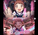 absurdres bangs brown_eyes brown_hair concert gloves glowstick hair_ornament hair_ribbon highres idolmaster idolmaster_million_live! long_hair matsuda_arisa necktie official_art open_mouth penlight ribbon smile touching twintails