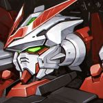 close-up commentary ehh_jikkenshitu from_side glowing glowing_eyes gundam gundam_astray_red_frame_kai gundam_seed gundam_seed_astray head highres looking_ahead mecha no_humans science_fiction solo v-fin