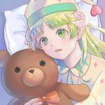 1girl 6bs_312 bow bowtie demon_girl green_eyes green_hair horns looking_at_viewer mairimashita!_iruma-kun open_mouth pajamas pointy_ears sharp_teeth stuffed_animal stuffed_toy teddy_bear teeth valac_clara