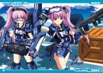 2girls :o bangs goggles goggles_on_head gun gundam gundam_unicorn holding holding_gun holding_weapon looking_down mecha_musume multiple_girls open_mouth personification purple_hair school_swimsuit siblings side_ponytail snorkel swimsuit twins violet_eyes weapon zee_zulu zeon zixia_(msl)