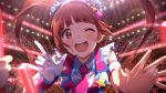 1girl :d arena badge blue_scrunchie blush brown_hair button_badge glint glowstick hair_ornament hair_scrunchie idolmaster idolmaster_million_live! idolmaster_million_live!_theater_days indoors long_hair looking_at_viewer matsuda_arisa necktie official_art open_mouth pink_neckwear pose scrunchie short_sleeves smile solo_focus stage_lights star_(symbol) star_hair_ornament sweat twintails upper_body wristband