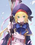 1girl artoria_pendragon_(all) artoria_pendragon_(caster) blonde_hair blush commentary_request fate/grand_order fate_(series) gloves green_eyes gyukaku400 hair_between_eyes hat highres holding holding_staff long_hair long_sleeves looking_at_viewer smile solo staff upper_body